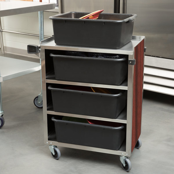 """Lakeside 615RM 4 Shelf Standard Duty Stainless Steel Utility Cart with Enclosed Base and Red Maple Finish - 16 1/2"""" x 27 3/4"""" x 32 3/4"""""""