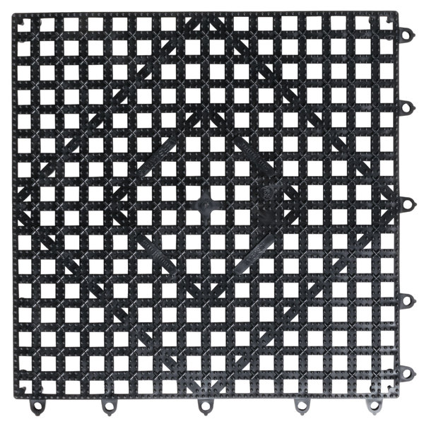 "San Jamar VM5280BK-12 Versa-Mat® 12"" x 12"" Black Interlocking Bar Matting"