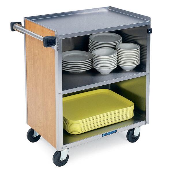 "Lakeside 622 3 Shelf Medium Duty Stainless Steel Utility Cart with Enclosed Base and Light Maple Finish - 19"" x 30 3/4"" x 33 7/8"""