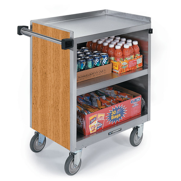 """Lakeside 822 3 Shelf Heavy Duty Stainless Steel Utility Cart with Enclosed Base and Light Maple Finish - 19 1/2"""" x 31 1/4"""" x 34 1/2"""""""