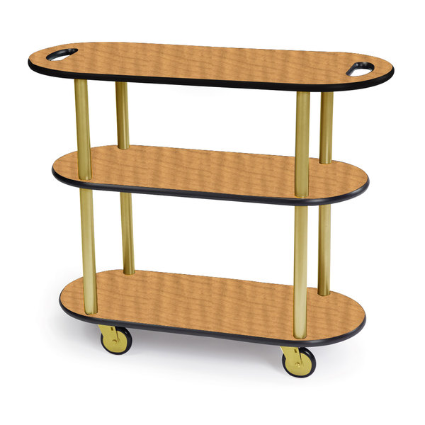 """Geneva 36204-10 Oval 3 Shelf Laminate Table Side Service Cart with Handle Cutouts and Amber Maple Finish - 16"""" x 42 3/8"""" x 35 1/4"""