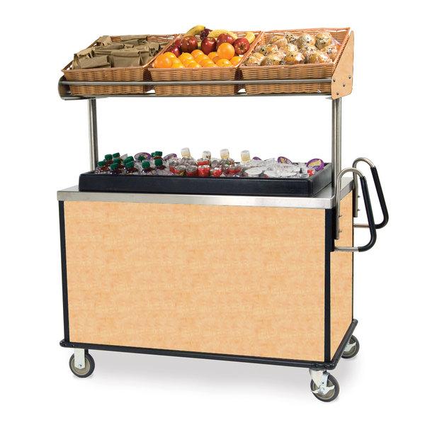 "Lakeside 668 Stainless Steel Vending Cart with Insulated Polyethylene Ice Bin, Overhead Shelf, and Hard Rock Maple Finish - 28 1/2"" x 54 3/4"" x 67"""