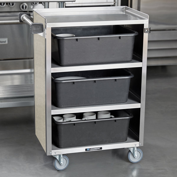 """Lakeside 815BS 4 Shelf Medium Duty Stainless Steel Utility Cart with Enclosed Base and Beige Suede Finish - 16 7/8"""" x 28 1/4"""" x 37 1/2"""" Main Image 4"""