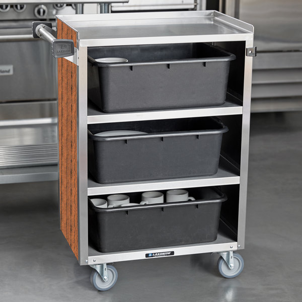 "Lakeside 815VC 4 Shelf Medium Duty Stainless Steel Utility Cart with Enclosed Base and Victorian Cherry Finish - 16 7/8"" x 28 1/4"" x 37 1/2"" Main Image 4"
