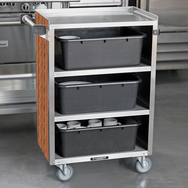 "Lakeside 815 4 Shelf Medium Duty Stainless Steel Utility Cart with Enclosed Base and Victorian Cherry Finish - 16 7/8"" x 28 1/4"" x 37 1/2"""