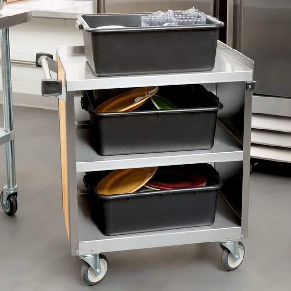"Lakeside 822 3 Shelf Heavy Duty Stainless Steel Utility Cart with Enclosed Base and Hard Rock Maple Finish - 19 1/2"" x 31 1/4"" x 34 1/2"""
