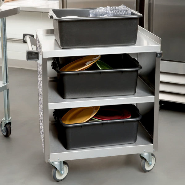 """Lakeside 822 3 Shelf Heavy Duty Stainless Steel Utility Cart with Enclosed Base and Gray Sand Finish - 19 1/2"""" x 31 1/4"""" x 34 1/2"""""""