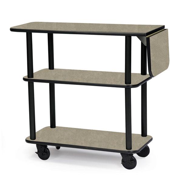 "Geneva 36102 Rectangular 3 Shelf Laminate Tableside Service Cart with 10"" Drop Leaf and Beige Suede Finish - 16"" x 48"" x 35 1/4"