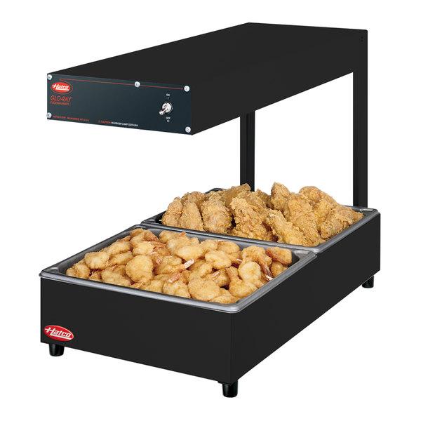 "Hatco GRRFLI Glo-Ray Bold Black 12 3/8"" x 24"" Portable Food Warmer with Infinite Controls and Overhead Light - 120V, 620W"