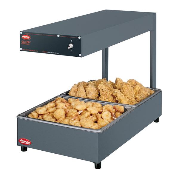 "Hatco GRFFL Glo-Ray Gray 12 3/8"" x 24"" Portable Food Warmer with Overhead Light - 120V, 620W"