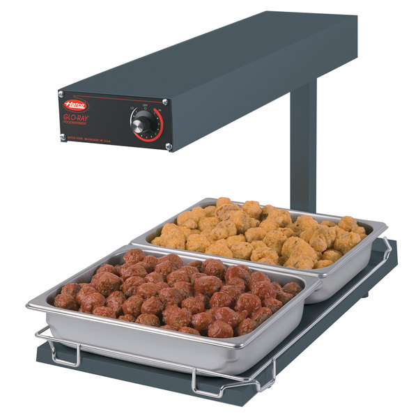 "Hatco GRFFBI Glo-Ray Gray 12 3/4"" x 24"" Portable Food Warmer with Infinite Controls and Heated Base - 120V, 750W"