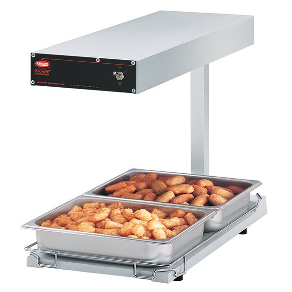 "Hatco GRFFBL Glo-Ray White 12 3/4"" x 24"" Portable Food Warmer with Heated Base and Overhead Light - 120V, 870W"