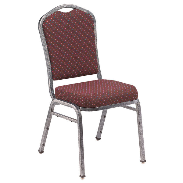 "Multiples of 40 Chairs National Public Seating 9368-SV Silhouette Style Stack Chair with 2"" Padded Seat, Silvervein Metal Frame, and Diamond Burgundy Fabric Upholstery"