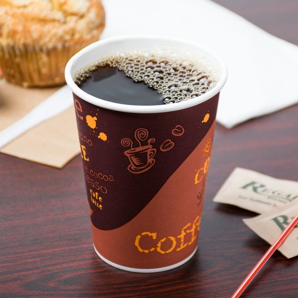 Choice 12 oz. Coffee Print Poly Paper Hot Cup - 1000/Case Main Image 2