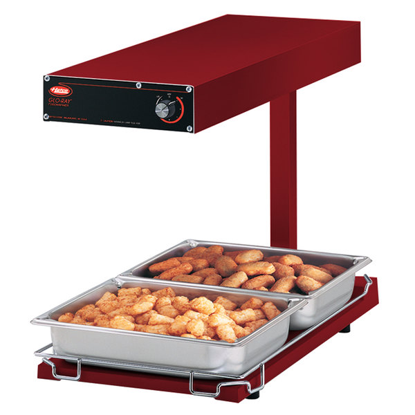 """Hatco GRFFBL Glo-Ray Red 12 3/4"""" x 24"""" Portable Food Warmer with Infinite Controls, Heated Base and Overhead Light - 120V, 870W"""