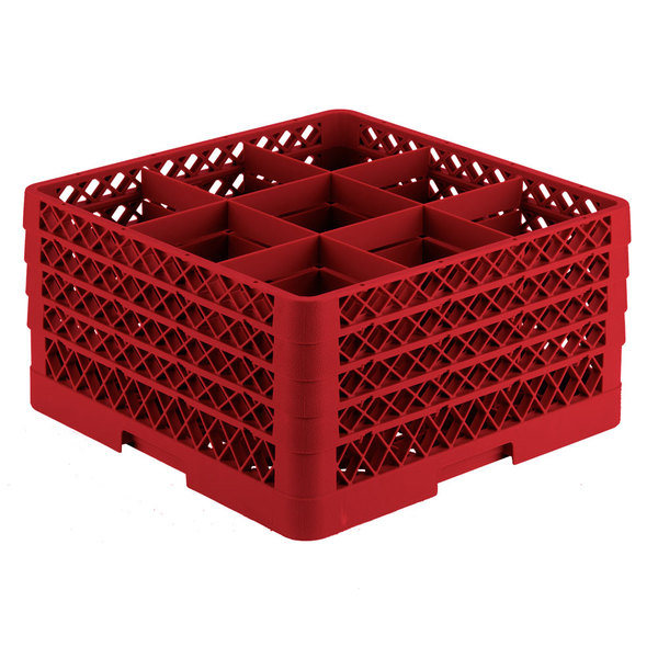 "Vollrath TR10FFFA Traex® Full-Size Red 9-Compartment 9 7/16"" Glass Rack with Open Rack Extender On Top"
