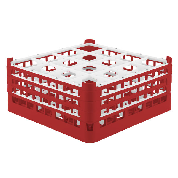 """Vollrath 52769 Signature Full-Size Red 16-Compartment 7 11/16"""" X-Tall Plus Glass Rack"""