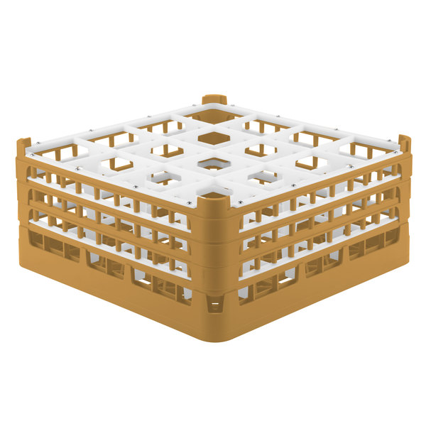 """Vollrath 52769 Signature Full-Size Gold 16-Compartment 7 11/16"""" X-Tall Plus Glass Rack"""