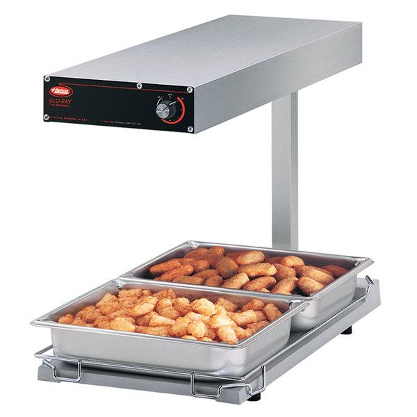 "Hatco GRFFBL Glo-Ray 12 3/4"" x 24"" Portable Food Warmer with Infinite Controls, Heated Base and Overhead Light - 120V, 870W"