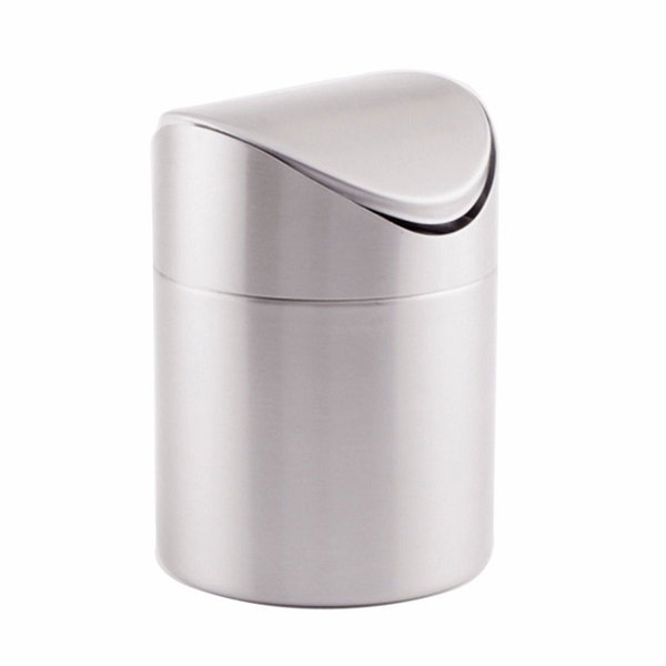 "American Metalcraft TIM3 4"" Brushed Stainless Steel Swing Waste Bin"