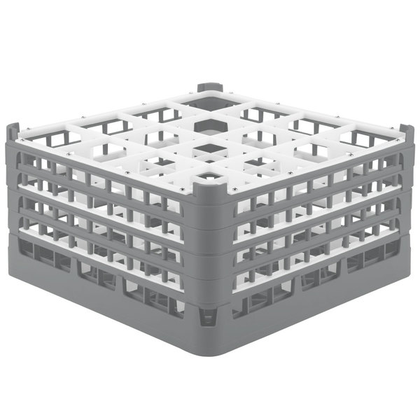 """Vollrath 52770 Signature Full-Size Gray 16-Compartment 9 1/16"""" XX-Tall Plus Glass Rack"""