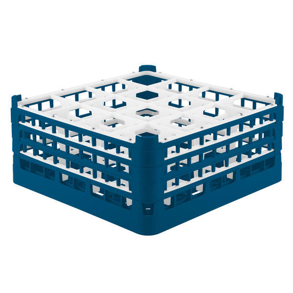 "Vollrath 52769 Signature Full-Size Royal Blue 16-Compartment 7 11/16"" X-Tall Plus Glass Rack Main Image 1"