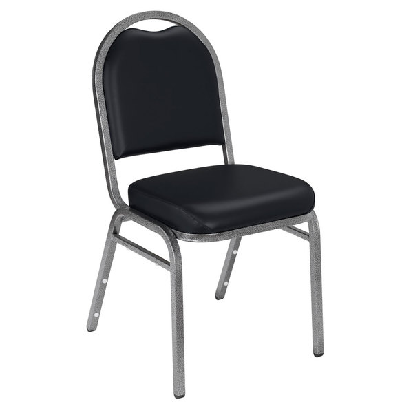 "Multiples of 40 Chairs National Public Seating 9210-SV Dome Style Stack Chair with 2"" Padded Seat, Silvervein Metal Frame, and Panther Black Vinyl Upholstery"