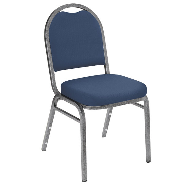 "Multiples of 40 Chairs National Public Seating 9204-SV Dome Style Stack Chair with 2"" Padded Seat, Silvervein Metal Frame, and Midnight Blue Vinyl Upholstery"