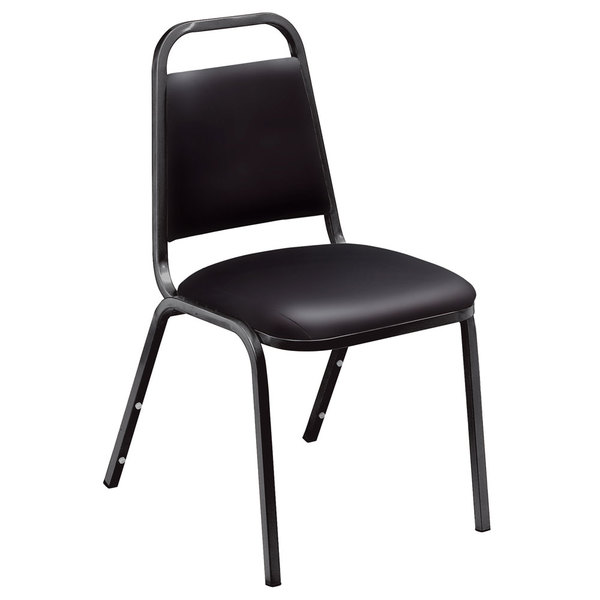 """Multiples of 4 Chairs National Public Seating 9110-B Standard Style Stack Chair with 1 1/2"""" Padded Seat, Black Metal Frame, and Panther Black Vinyl Upholstery"""