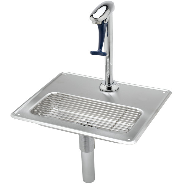 "T&S B-1230 Water Station with Pedestal Type Glass Filler, 18 Gauge Stainless Steel Drip Pan, 1/4"" Tailpiece for Copper Tubing, and 1 1/4"" Drain"