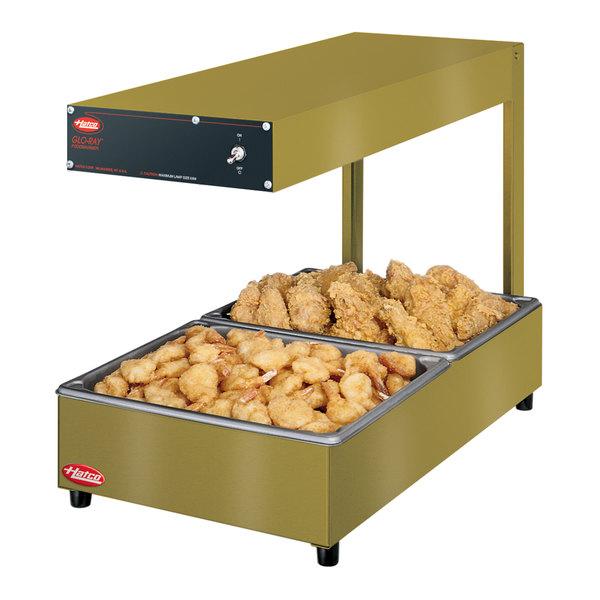 "Hatco GRRFLI Glo-Ray Gleaming Gold 12 3/8"" x 24"" Portable Food Warmer with Infinite Controls and Overhead Light - 120V, 620W"
