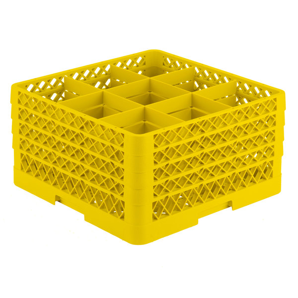 """Vollrath TR10FFFA Traex® Full-Size Yellow 9-Compartment 9 7/16"""" Glass Rack with Open Rack Extender On Top"""