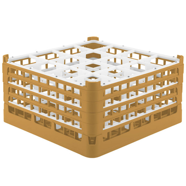 """Vollrath 52770 Signature Full-Size Gold 16-Compartment 9 1/16"""" XX-Tall Plus Glass Rack"""