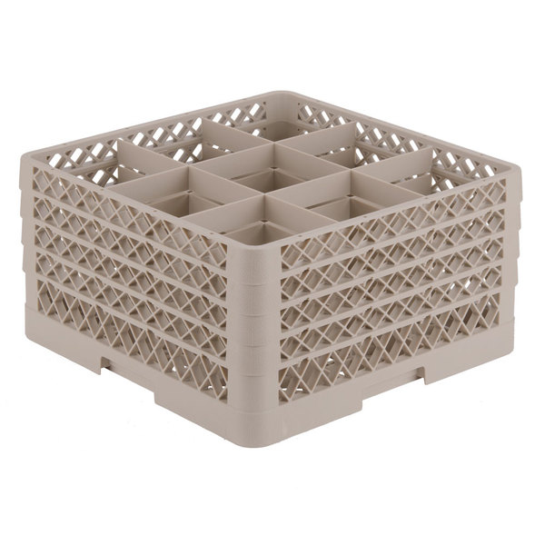 """Vollrath TR10FFFA Traex® Full-Size Beige 9-Compartment 9 7/16"""" Glass Rack with Open Rack Extender On Top Main Image 1"""
