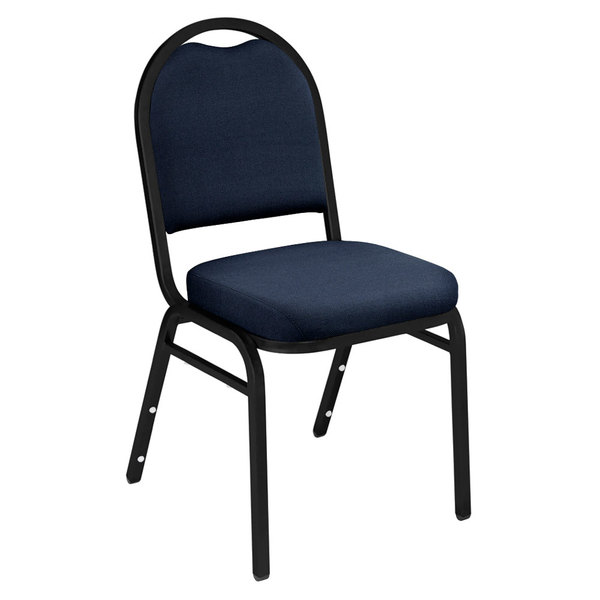 "Multiples of 40 Chairs National Public Seating 9254-BT Dome Style Stack Chair with 2"" Padded Seat, Black Sandtex Metal Frame, and Midnight Blue Fabric Upholstery"
