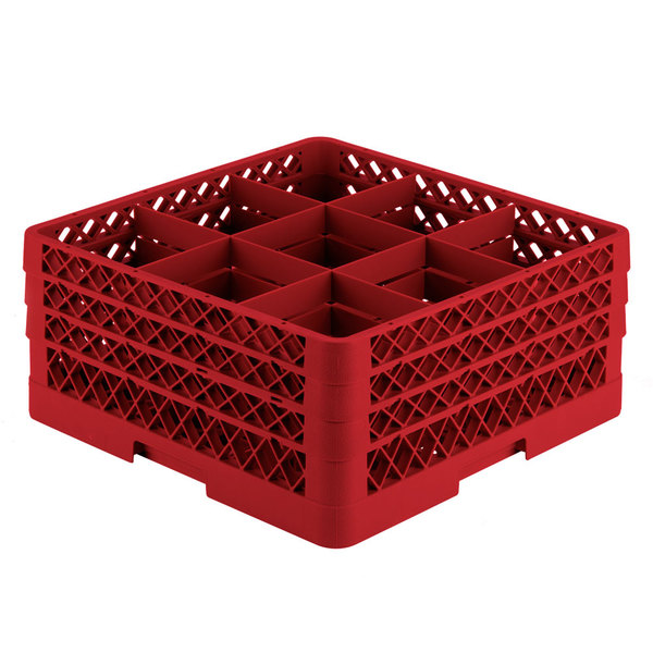 """Vollrath TR10FFA Traex® Full-Size Red 9-Compartment 7 7/8"""" Glass Rack with Open Rack Extender On Top Main Image 1"""