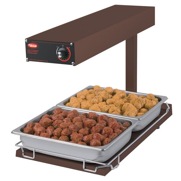 "Hatco GRFFBI Glo-Ray Copper 12 3/4"" x 24"" Portable Food Warmer with Infinite Controls and Heated Base - 120V, 750W"