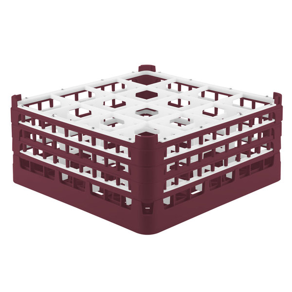 """Vollrath 52769 Signature Full-Size Burgundy 16-Compartment 7 11/16"""" X-Tall Plus Glass Rack"""