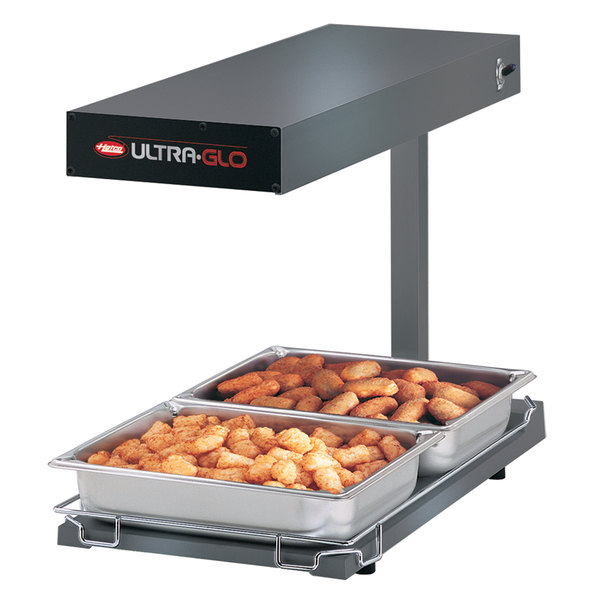 Hatco UGFFBL Ultra-Glo Glossy Gray Portable Food Warmer with Base Heat and Lights - 120V, 1120W