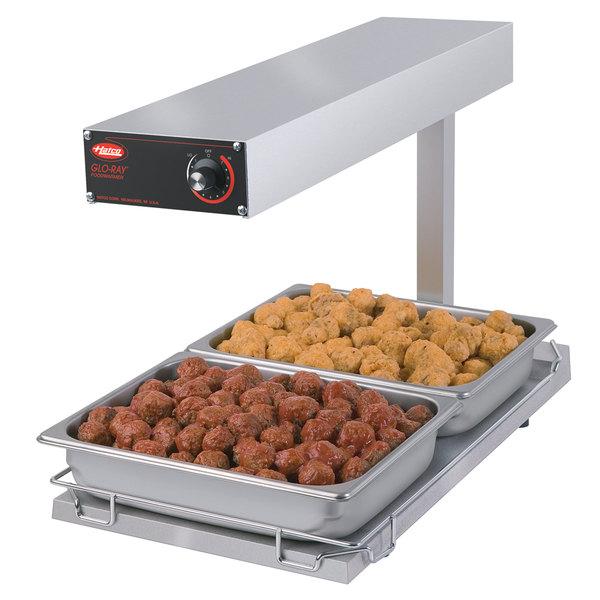 "Hatco GRFFBI Glo-Ray Glossy Gray 12 3/4"" x 24"" Portable Food Warmer with Infinite Controls and Heated Base - 120V, 750W"