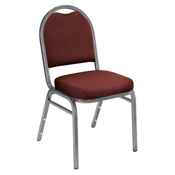 """Multiples of 2 Chairs National Public Seating 9258-SV Dome Style Stack Chair with 2"""" Padded Seat, Silvervein Metal Frame, and Rich Maroon Fabric Upholstery"""