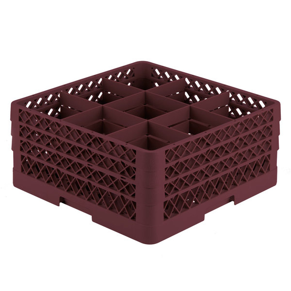 """Vollrath TR10FFA Traex® Full-Size Burgundy 9-Compartment 7 7/8"""" Glass Rack with Open Rack Extender On Top"""