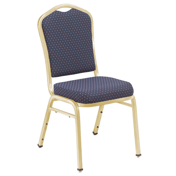 "Multiples of 40 Chairs National Public Seating 9364-G Silhouette Style Stack Chair with 2"" Padded Seat, Gold Metal Frame, and Diamond Navy Fabric Upholstery"