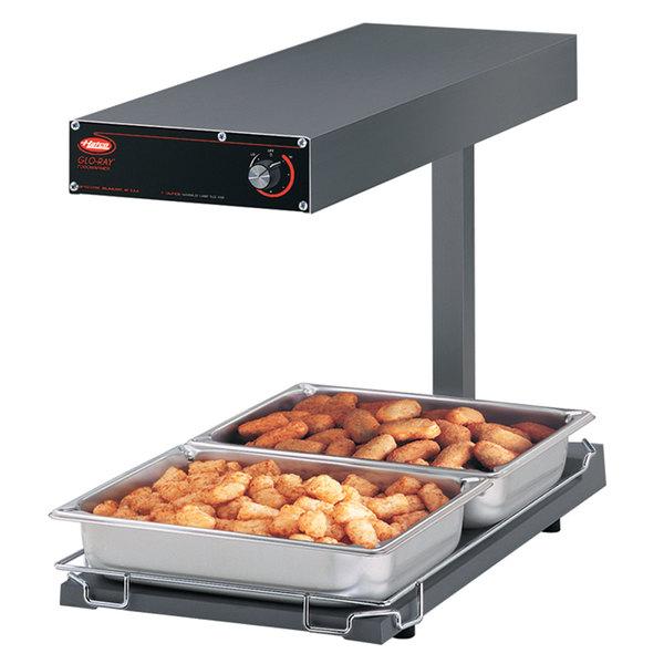 "Hatco GRFFBL Glo-Ray Gray 12 3/4"" x 24"" Portable Food Warmer with Infinite Controls, Heated Base and Overhead Light - 120V, 870W"
