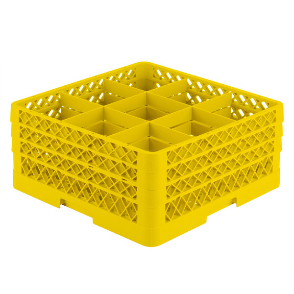 """Vollrath TR10FFF Traex® Full-Size Yellow 9-Compartment 7 7/8"""" Glass Rack"""