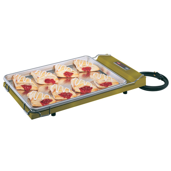 """Hatco GR-B Glo-Ray Gleaming Gold 13"""" x 22"""" Portable Food Warmer with Heated Base - 120V, 250W"""