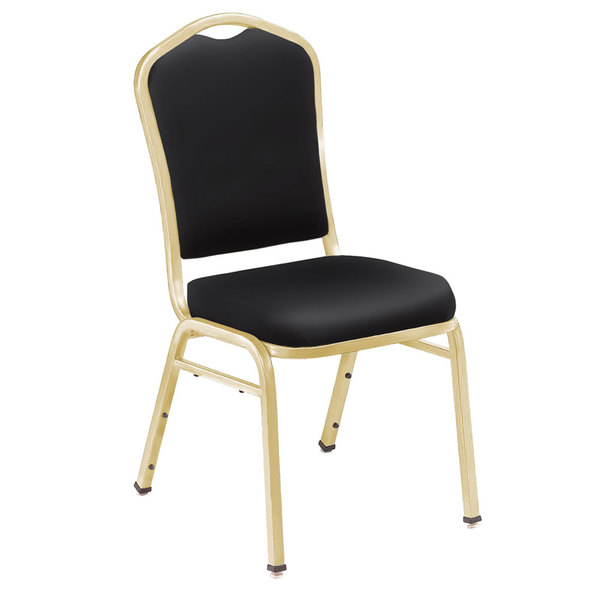 "Multiples of 40 Chairs National Public Seating 9310-G Silhouette Style Stack Chair with 2"" Padded Seat, Gold Metal Frame, and Panther Black Vinyl Upholstery"