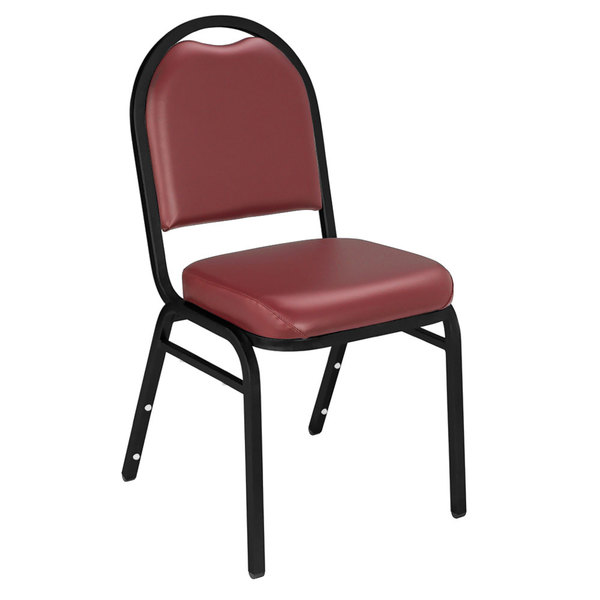 """Multiples of 40 Chairs National Public Seating 9208-BT Dome Style Stack Chair with 2"""" Padded Seat, Black Sandtex Metal Frame, and Pleasant Burgundy Vinyl Upholstery"""