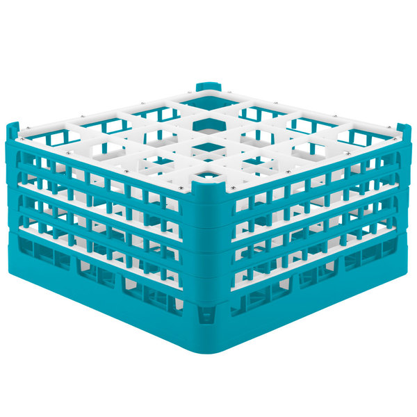 "Vollrath 52770 Signature Full-Size Light Blue 16-Compartment 9 1/16"" XX-Tall Plus Glass Rack"