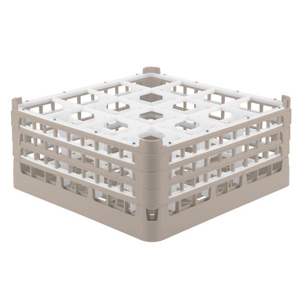 "Vollrath 52769 Signature Full-Size Beige 16-Compartment 7 11/16"" X-Tall Plus Glass Rack"